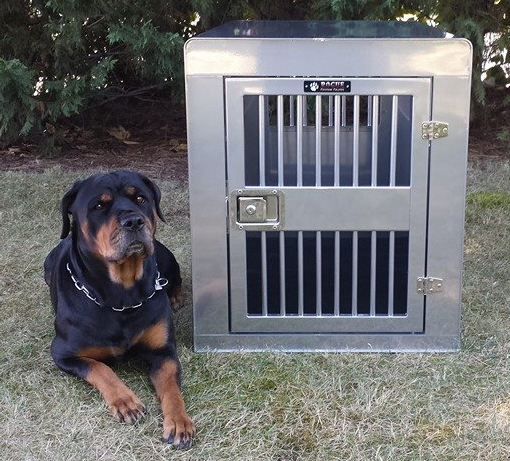 Our crates are made with high grade aluminum, sturdy hinges and unbreakable locks. So if your looking for a custom dog crate, Rogue Custom Crates has you covered.